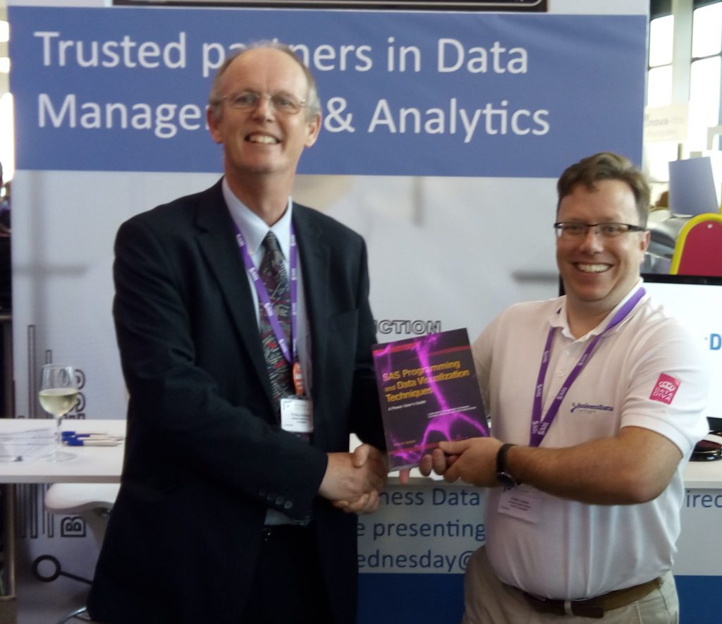 Peter Lowes receiving his book prize at SAS Forum UK 2017